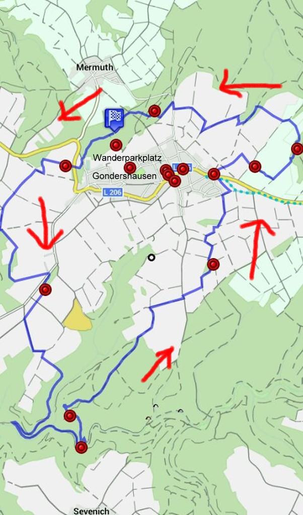 Karte Traumschleife Rabenlay